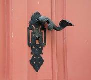 Wooden classic door with handle . Royalty Free Stock Photos