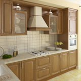 Wooden classic kitchen. Stock Photo