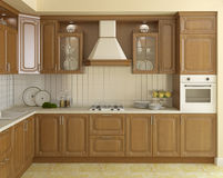 Wooden classic kitchen. Stock Image
