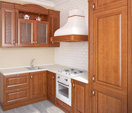 Wooden classic kitchen. Royalty Free Stock Photos