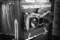 Wooden classic retro camera, Black and white image Royalty Free Stock Photography