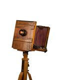 Wooden classic retro camera on tripod stock photography