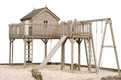 Wooden climbing frame isolated Royalty Free Stock Photography