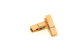 Wooden Clip. Wooden Paper Clip In Isolate White Background Stock Photography