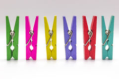 Wooden clip set. Multicolor Wooden clip set. colorful clothespin isolate on white background royalty free stock images