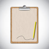 Wooden clipboard. With line by yellow pencil Royalty Free Stock Photo
