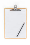 Wooden Clipboard using for attach planning paper with pencil on Stock Photos