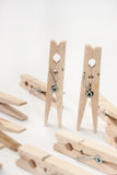 Wooden clips as kissing couple Royalty Free Stock Photography