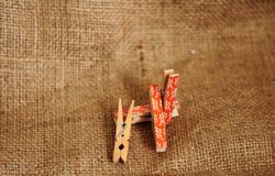 Wooden Clips for pinning photos and more royalty free stock photo