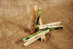 Wooden Clips for pinning photos and more royalty free stock image