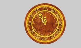 Wooden clock. Golden clock with year 2013 royalty free illustration