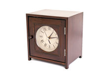 Wooden clock cabinet Stock Photo