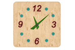 Wooden clock with glass figures Stock Photo