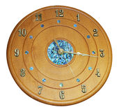 Wooden Clock with Paua Inlay Stock Image
