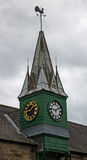 A Wooden Clock Tower Stock Photo