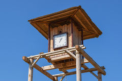 The wooden clock tower Stock Photo