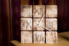 Wooden clock, watch. Retro vintage style, indoor Royalty Free Stock Images