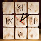 Wooden clock, watch. Retro vintage style, indoor Stock Image