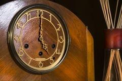 Wooden Clockface 5`oclock Stock Photo