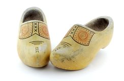 Wooden Clogs. On a white background Royalty Free Stock Image