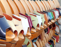 Wooden clogs in the artisan market Stock Image