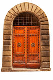 Wooden closed brown door. Royalty Free Stock Photo