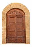 Wooden closed brown door. Stock Photos