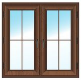 Wooden  closed double window. Vector illustration. Royalty Free Stock Photography