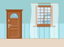 Wooden closed entrance door and window with beautiful view stock illustration
