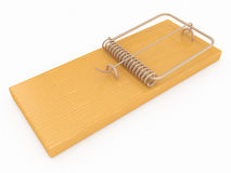 Wooden closeup mouse trap on a white background Stock Photo