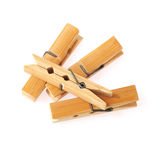 Wooden cloth pegs isolated on white background. Wooden clothes pegs isolated on white background Stock Photo