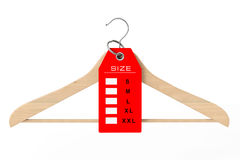 Wooden Clothes Hanger and Dress Tag with Size Sign. 3d Rendering Stock Image