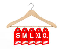 Wooden Clothes Hanger and Dress Tags with Size Sign. 3d Renderin Stock Images