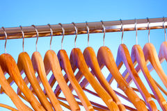 Wooden clothes hangers Stock Photos