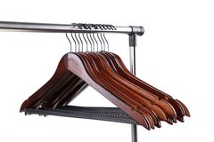 Wooden clothes hangers on a white background Stock Photography