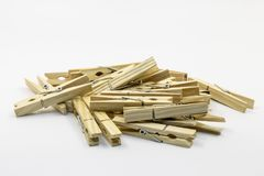 Wooden clothes line pins stock photo