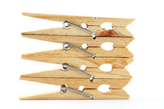 Wooden Clothes Peg. Isolate Over White Royalty Free Stock Images