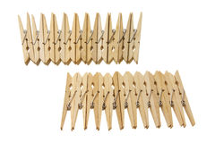 Wooden Clothes Pegs Stock Photography