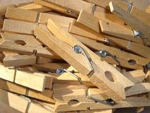 Wooden clothes pegs Royalty Free Stock Photos