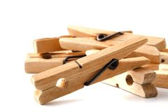 Wooden clothes pegs for clothes drying Stock Photography
