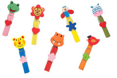 Wooden clothes pin multi-colored animals. Stock Photography