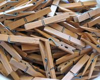Wooden clothes pins Stock Image