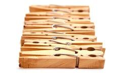 Wooden clothes pins Stock Photos