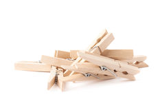 Wooden clothespin composition isolated Royalty Free Stock Photo