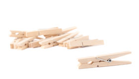 Wooden clothespin composition isolated Royalty Free Stock Image