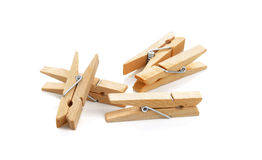 Wooden clothespin composition isolated over the white background Royalty Free Stock Photos