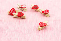 Wooden clothespin heart shaped. Stock Images