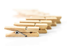 Wooden clothespin. The wooden clothespin isolated on white background Royalty Free Stock Photos