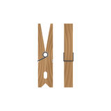 Wooden clothespin isolated on white background. Front and side view. Vector illustration Royalty Free Stock Images