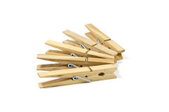 5 Wooden clothespin Stock Photo